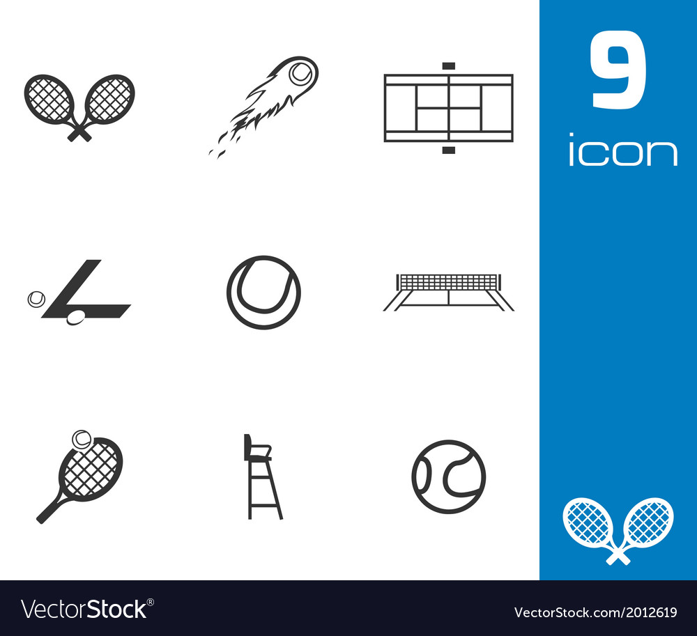 Black tennis icons set vector | Price: 1 Credit (USD $1)