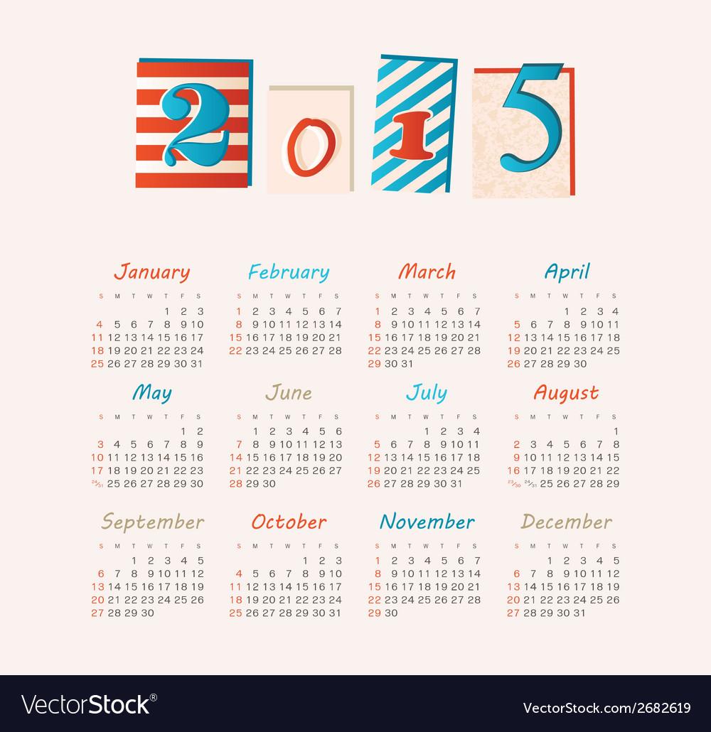 Calendar 2015 year vector   Price: 1 Credit (USD $1)