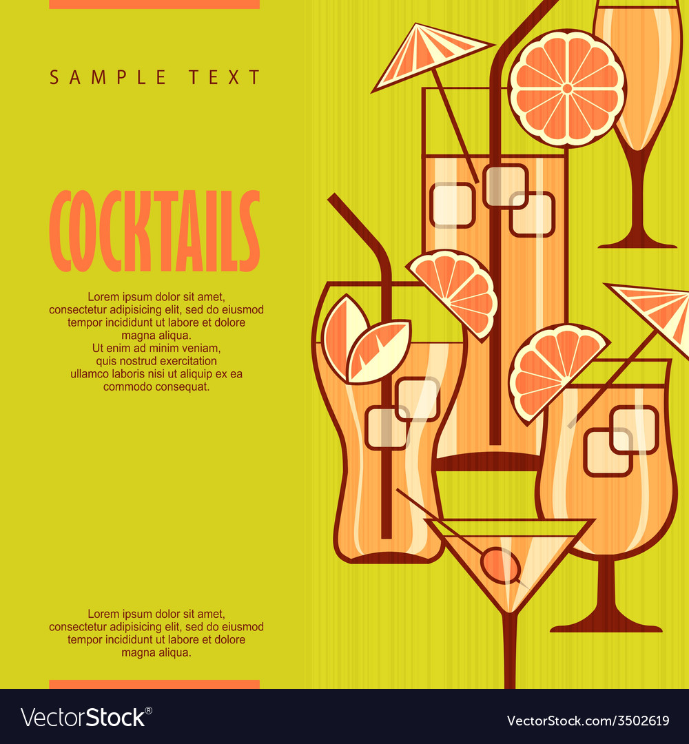 Cocktails set on green vector | Price: 1 Credit (USD $1)