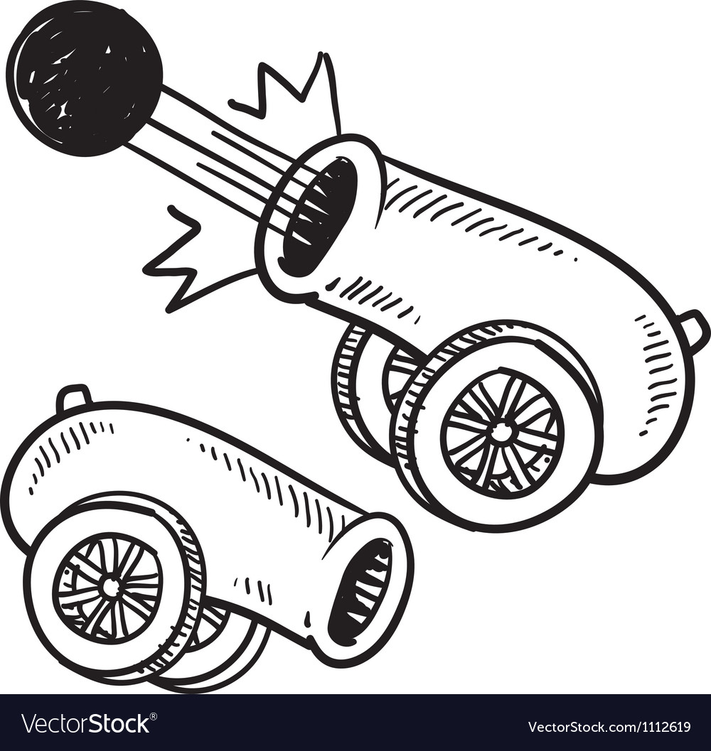 Doodle cannon ball vector | Price: 1 Credit (USD $1)