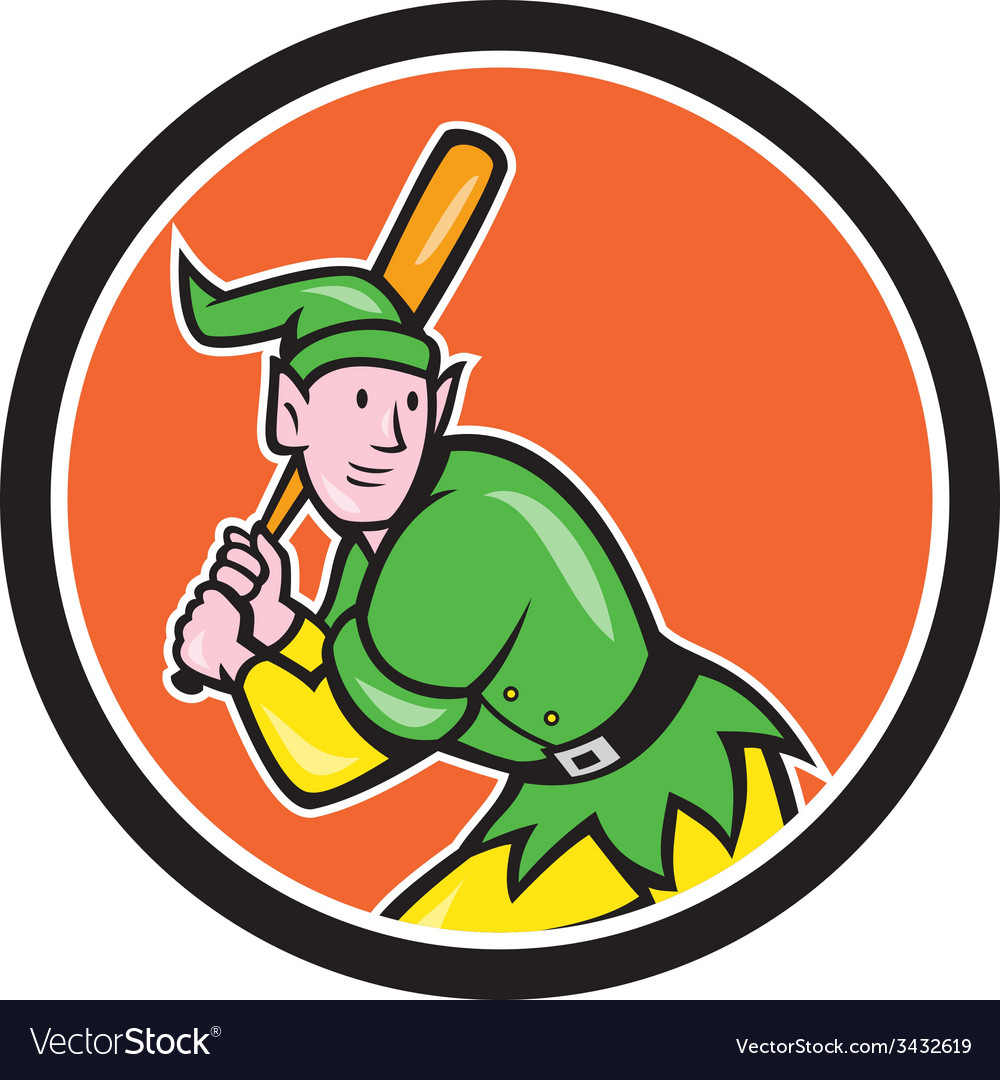 Elf baseball player batting circle cartoon vector | Price: 1 Credit (USD $1)