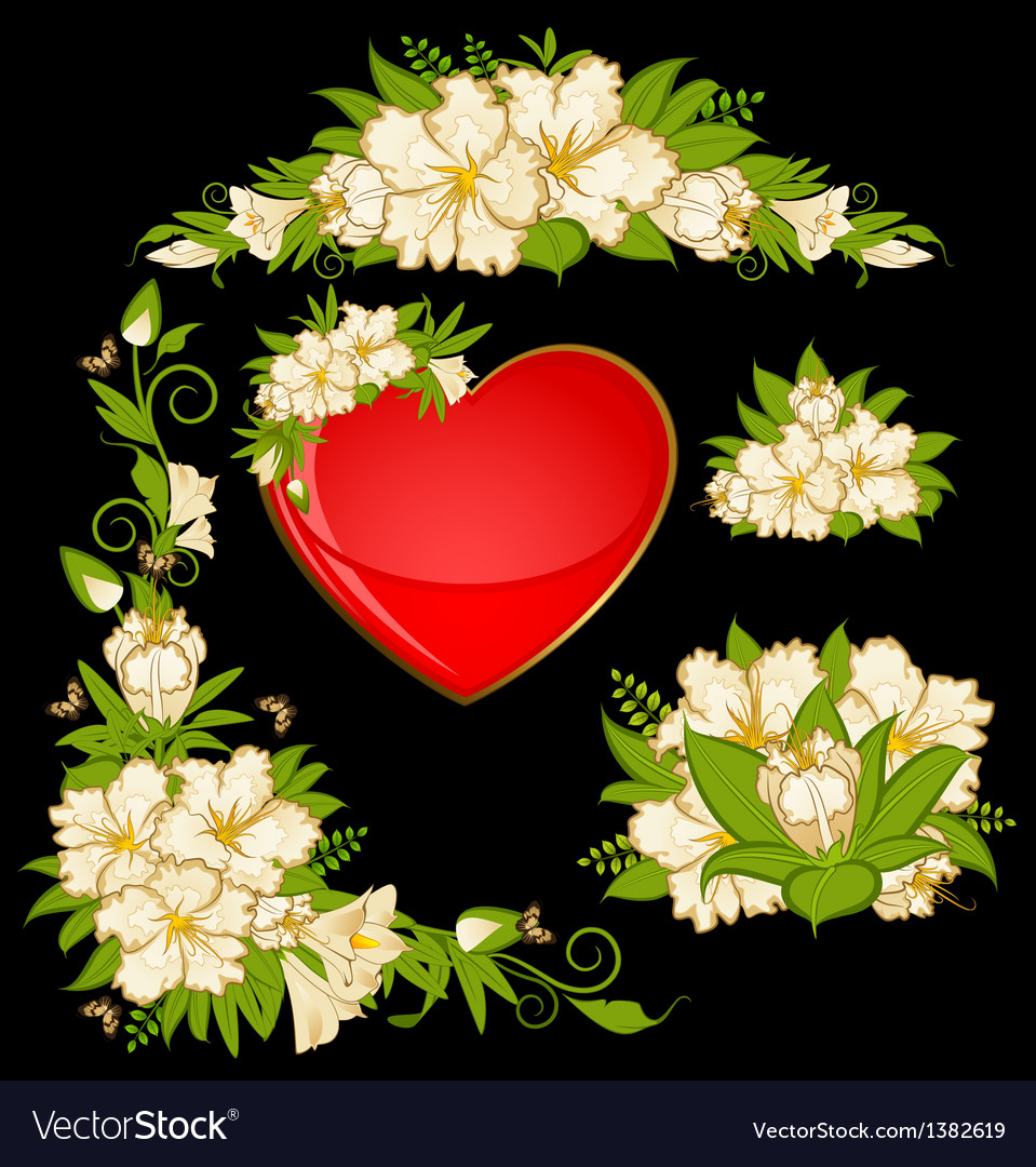 Flowers with heart vector | Price: 1 Credit (USD $1)