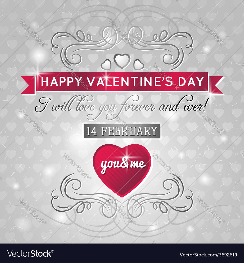 Grey background with red valentine heart vector | Price: 1 Credit (USD $1)