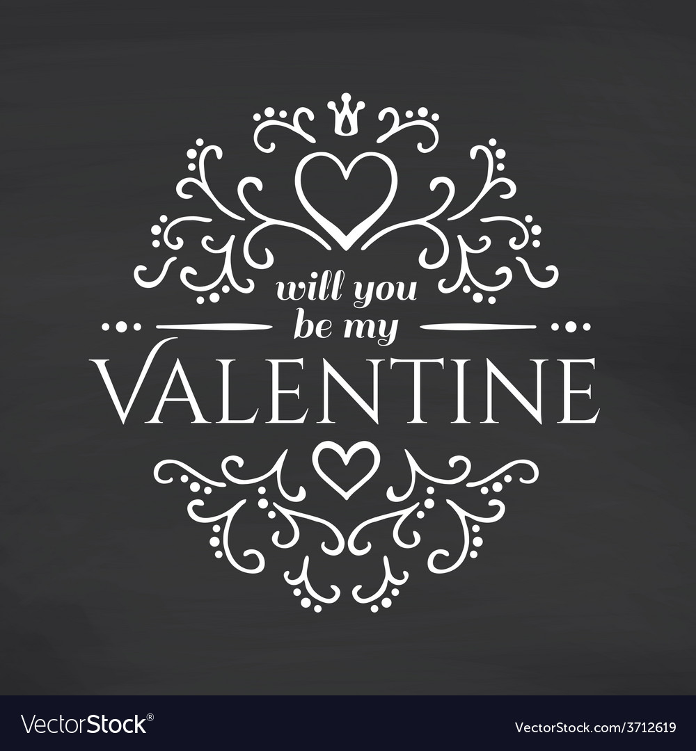 Happy valentines day blackboard background vector | Price: 1 Credit (USD $1)
