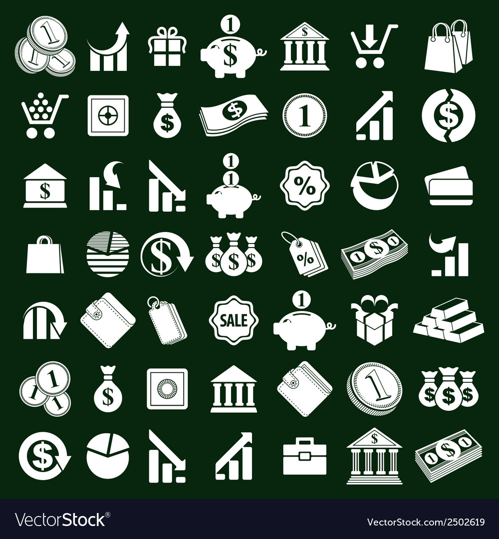 Money icons set finance theme simplistic symbols vector | Price: 1 Credit (USD $1)