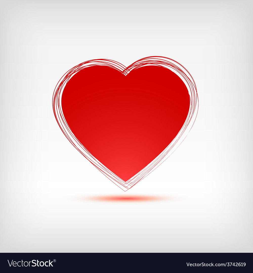 Red heart shape on white background vector | Price: 1 Credit (USD $1)