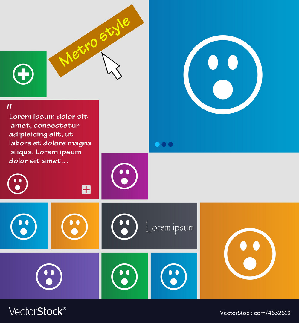 Shocked face smiley icon sign metro style buttons vector | Price: 1 Credit (USD $1)