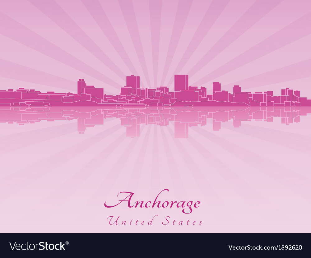 Anchorage skyline in purple radiant orchid vector | Price: 1 Credit (USD $1)