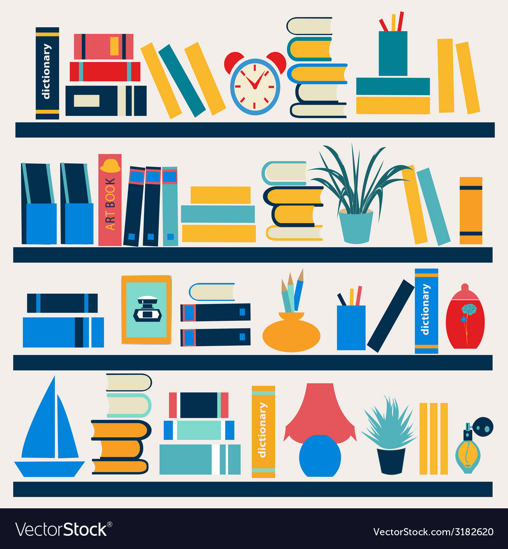 Bookshelf full of books - vector | Price: 1 Credit (USD $1)