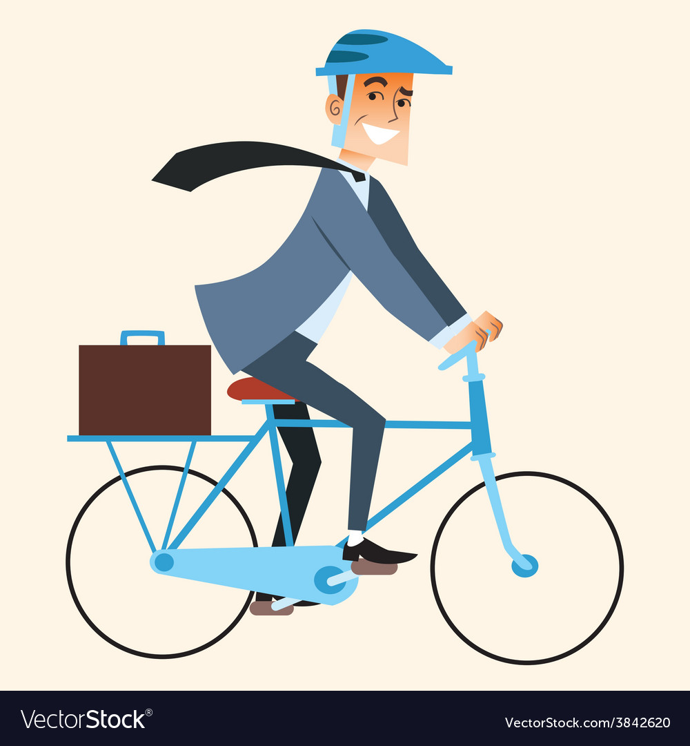 Businessman going to work in the office by bike vector | Price: 1 Credit (USD $1)