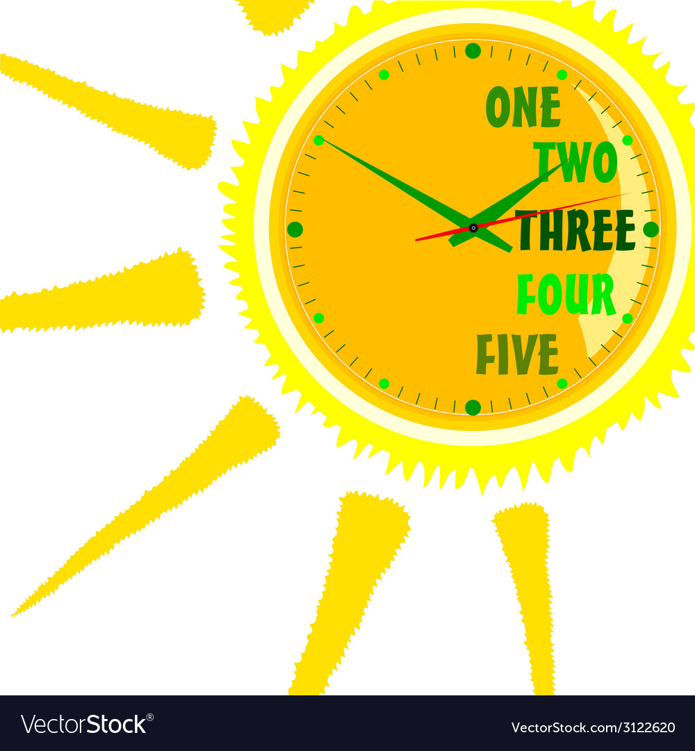 Clock green in sun vector | Price: 1 Credit (USD $1)