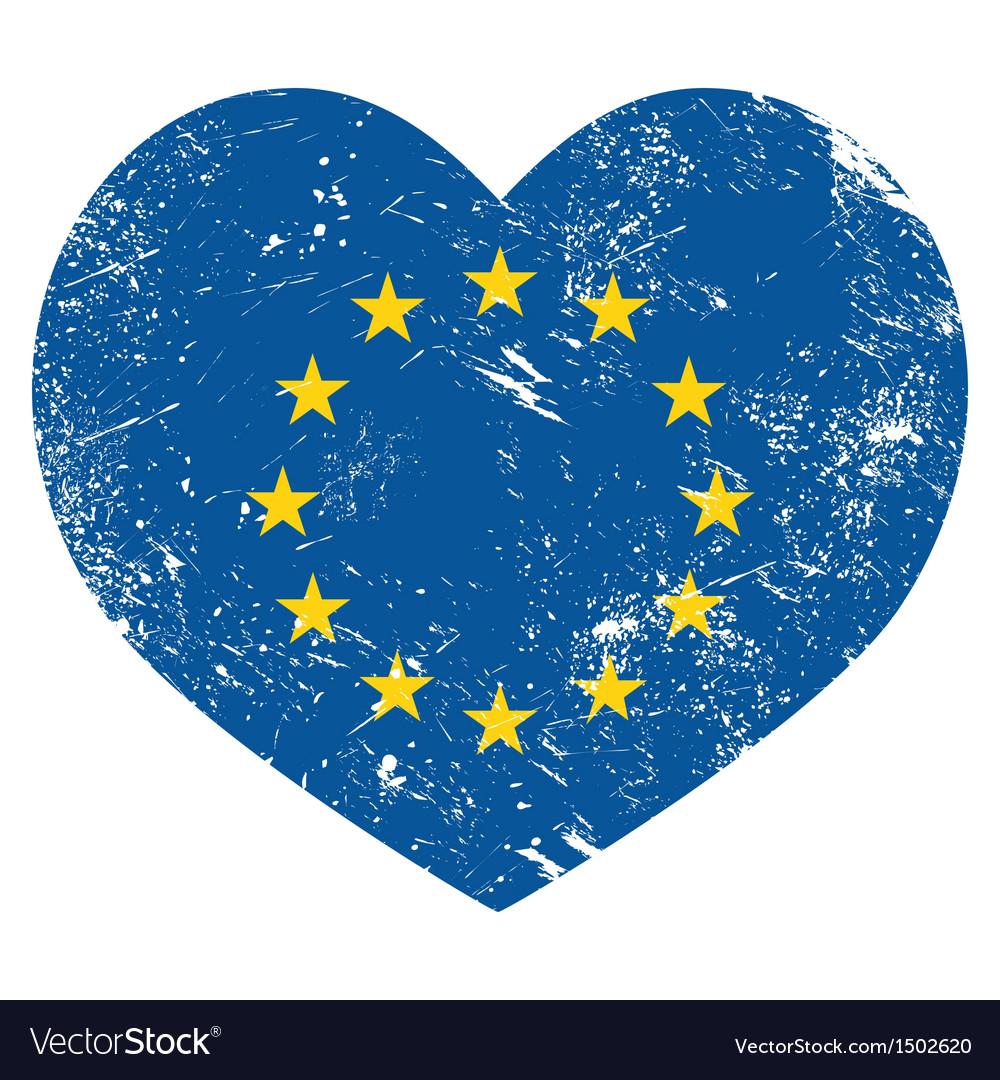Eu i love european union heart retro flag vector | Price: 1 Credit (USD $1)