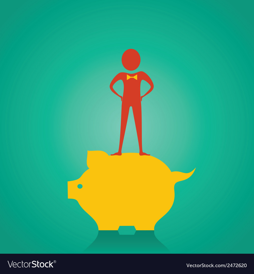 Man stand up on the piggy bank for saving money st vector | Price: 1 Credit (USD $1)