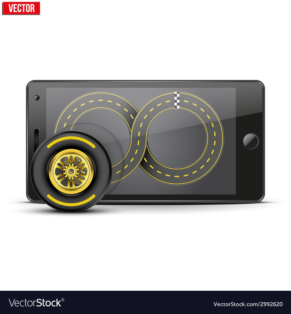 Mobile phone with racing wheel and track on the vector | Price: 1 Credit (USD $1)