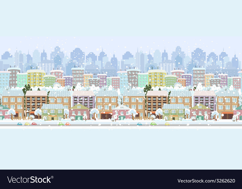 Panorama seamless border with a winter cityscape vector | Price: 1 Credit (USD $1)