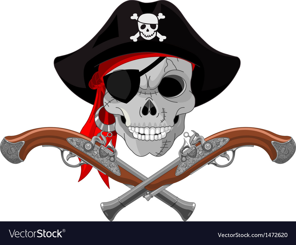 Pirate skull and guns vector | Price: 3 Credit (USD $3)