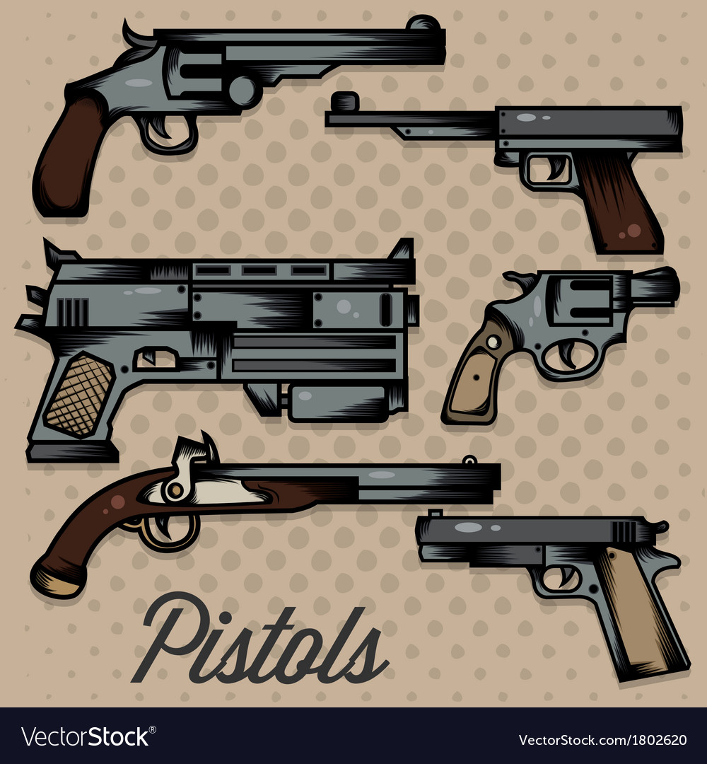 Pistols cartoon collection vector | Price: 1 Credit (USD $1)