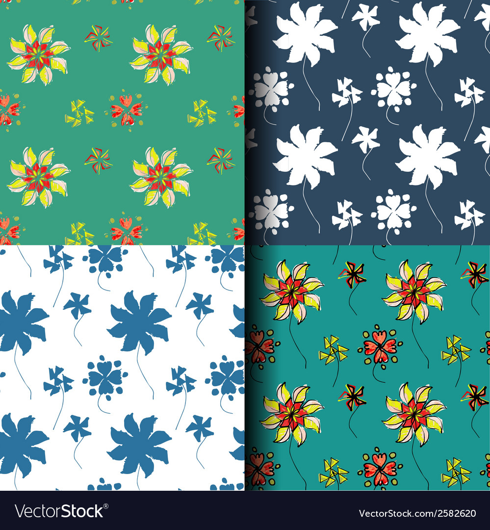 Seamless pattern flower background vector | Price: 1 Credit (USD $1)