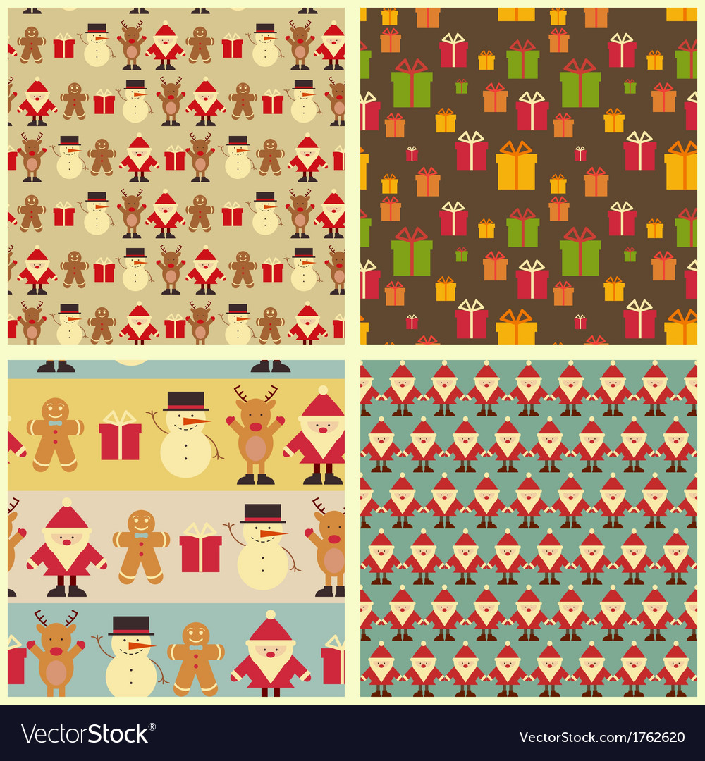 Set of christmas seamless vintage backgrounds vector | Price: 1 Credit (USD $1)