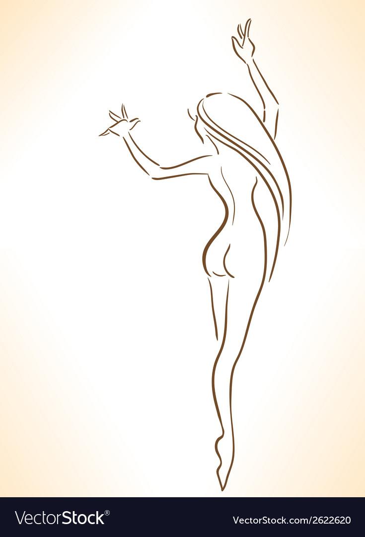 Silhouette of nude dancing slender girl vector | Price: 1 Credit (USD $1)