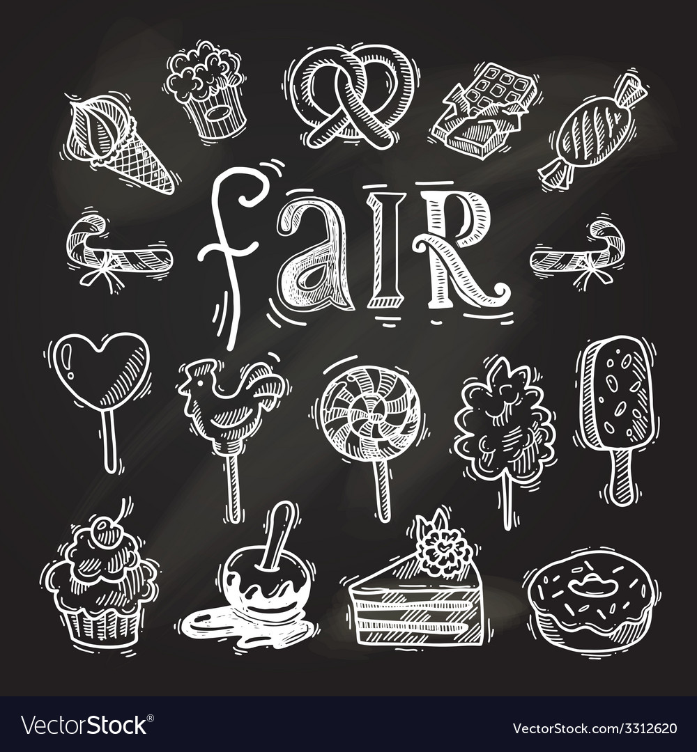 Sweets sketch icon set chalkboard vector   Price: 1 Credit (USD $1)