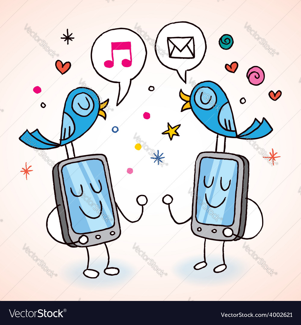 Cell phones tweeting vector | Price: 1 Credit (USD $1)