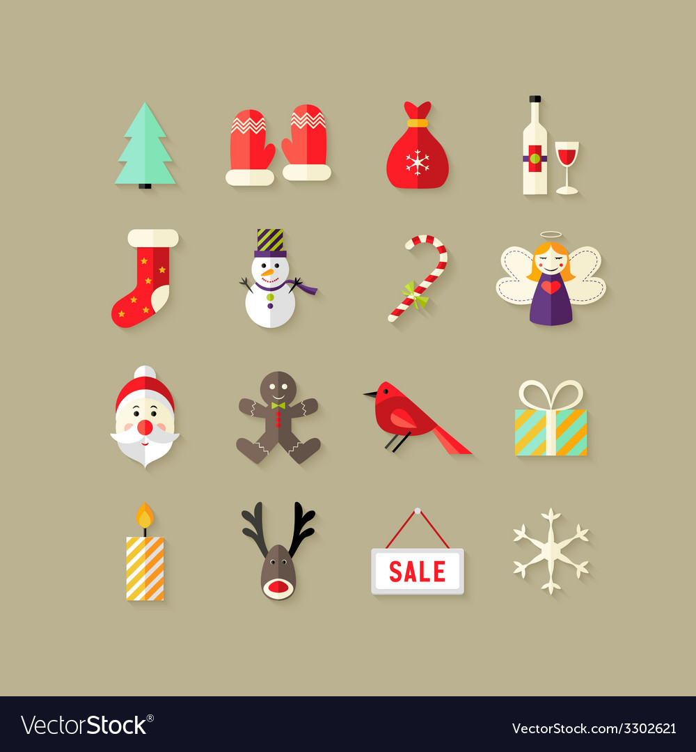 Christmas flat icons set 4 vector | Price: 1 Credit (USD $1)