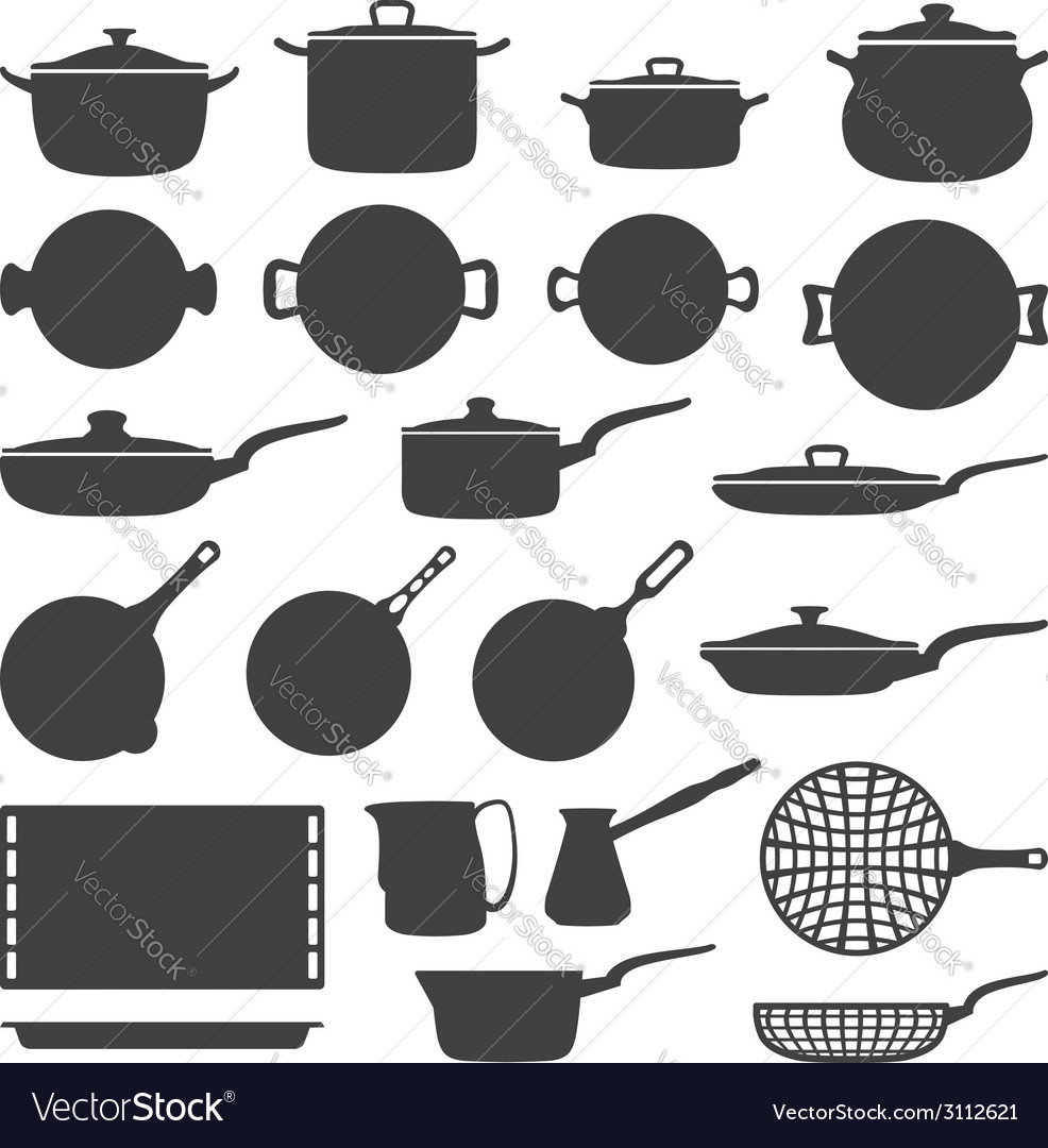 Cookware silhouette set vector | Price: 1 Credit (USD $1)