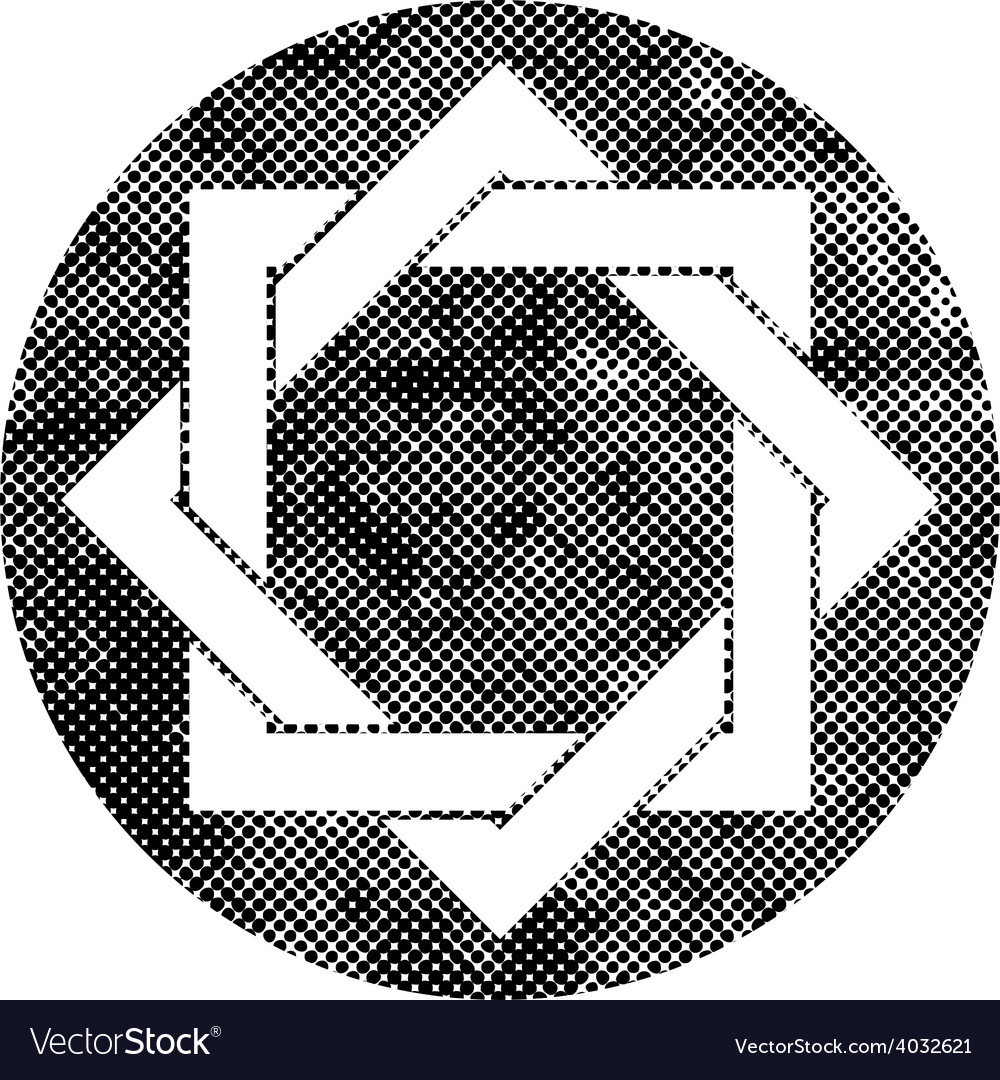 Eight point star symbol with pixel print halftone vector | Price: 1 Credit (USD $1)