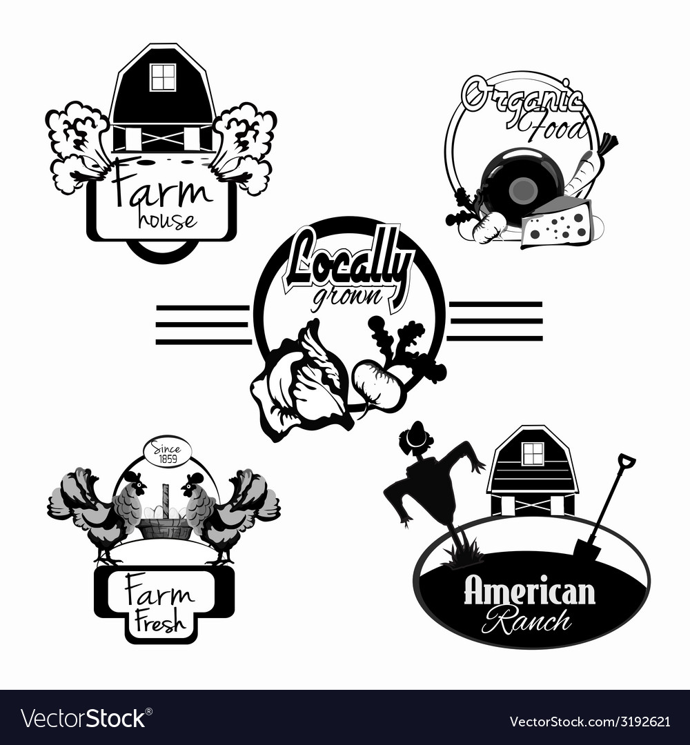 Farm fresh labels black set vector | Price: 1 Credit (USD $1)
