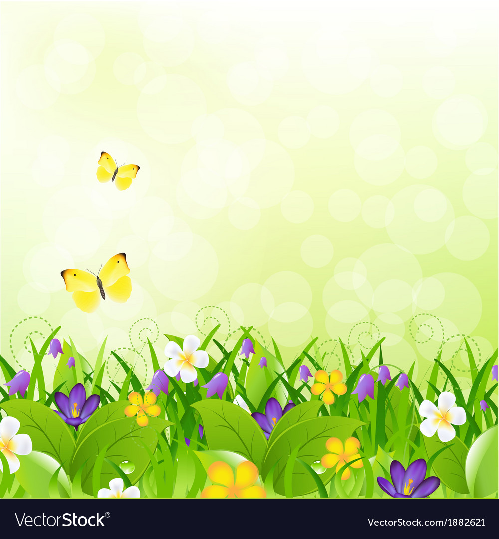 Flowers with grass with butterfly and bokeh vector | Price: 1 Credit (USD $1)
