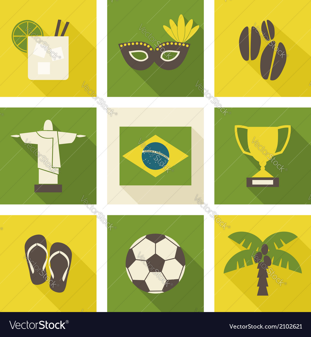 Green and yellow brazil icons isolated on white vector | Price: 1 Credit (USD $1)