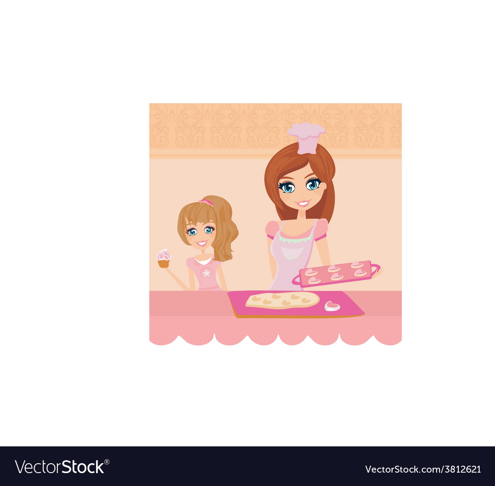 Happy mother helping her daughter cooking cakes in vector | Price: 1 Credit (USD $1)