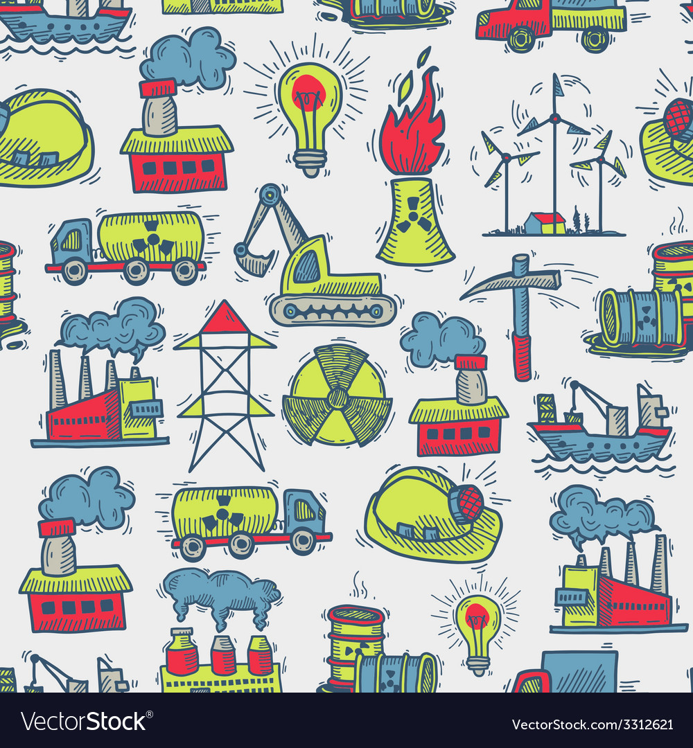 Industrial sketch seamless pattern vector | Price: 1 Credit (USD $1)