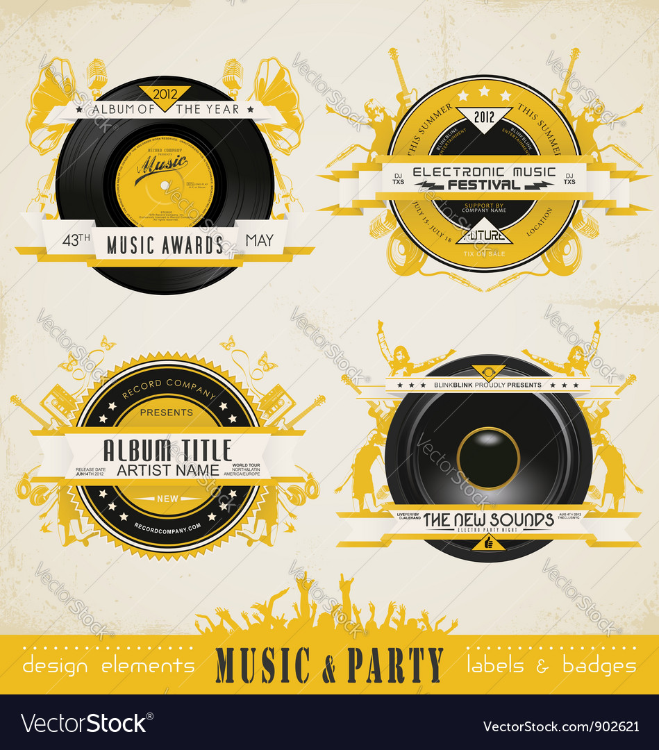 Music badge labels vector | Price: 3 Credit (USD $3)