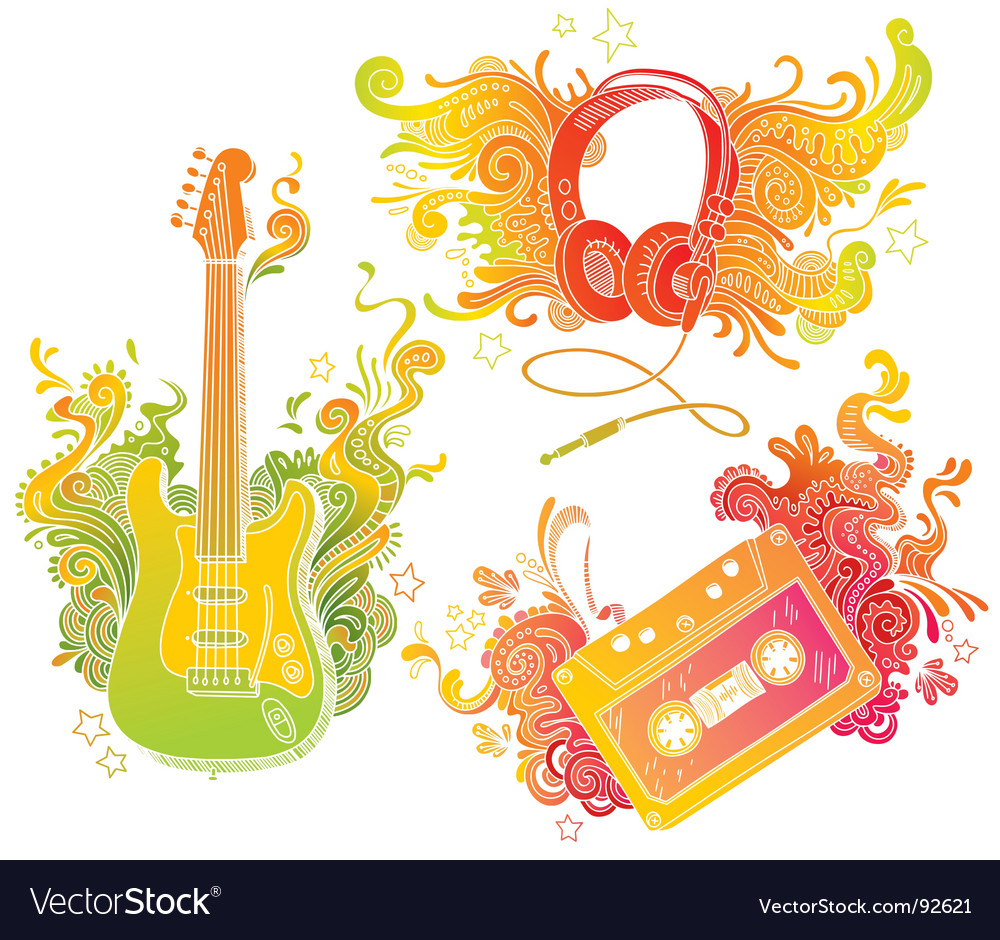 Musical equipments with doodle decor vector | Price: 1 Credit (USD $1)