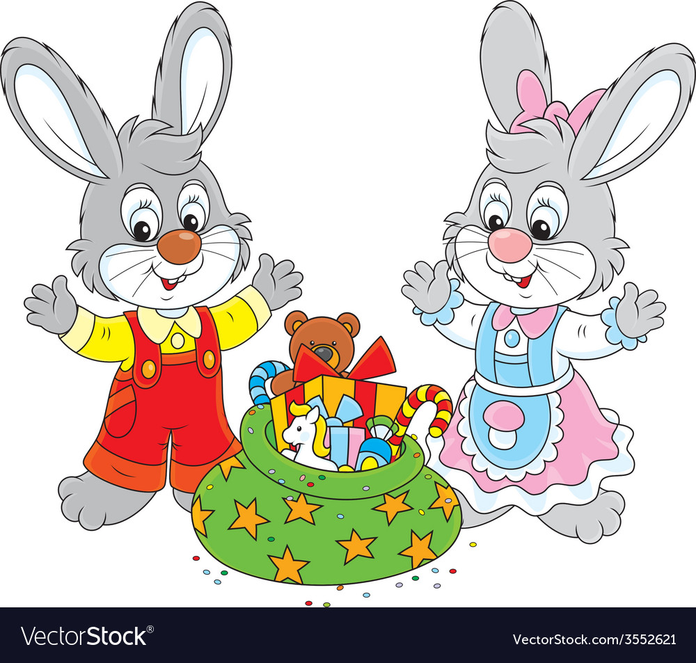 Rabbits with gifts vector | Price: 1 Credit (USD $1)