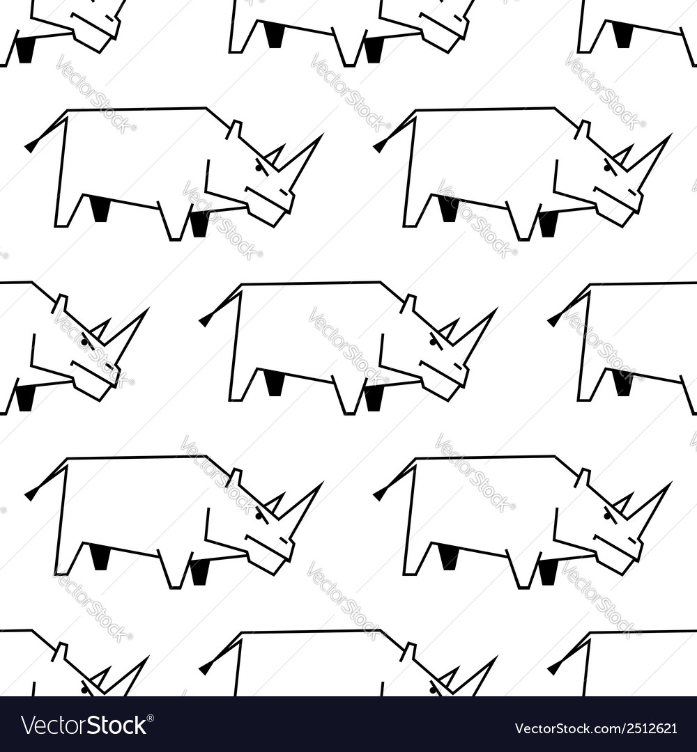 Seamless pattern of a stylized rhinoceros vector | Price: 1 Credit (USD $1)