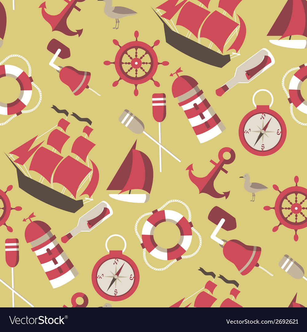 Seamless pattern on the marine theme vector | Price: 1 Credit (USD $1)
