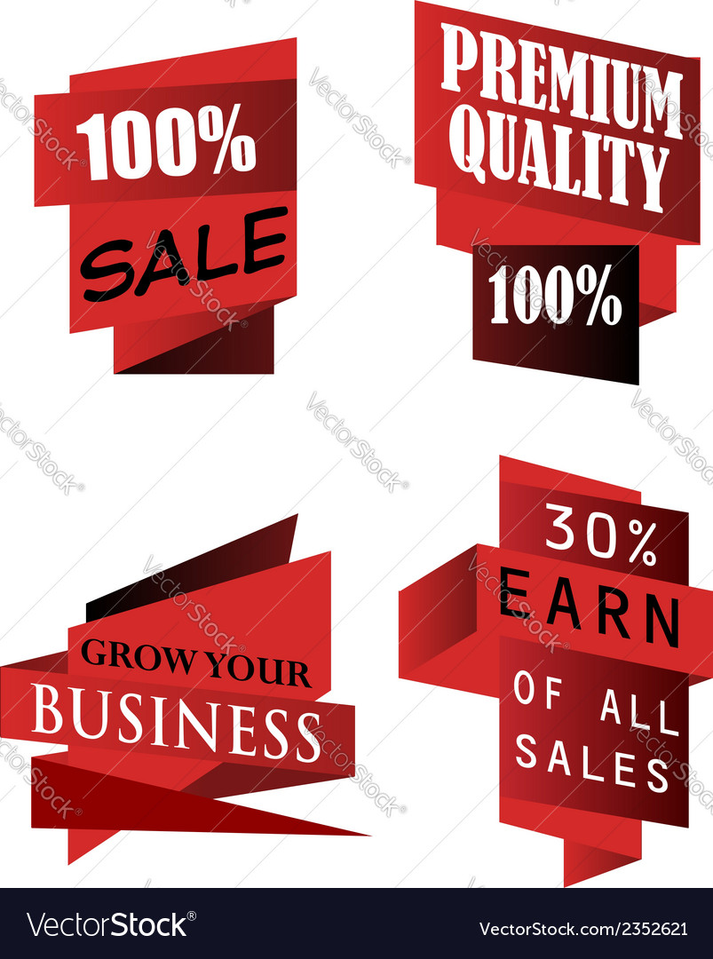 Set of origami labels for business vector | Price: 1 Credit (USD $1)