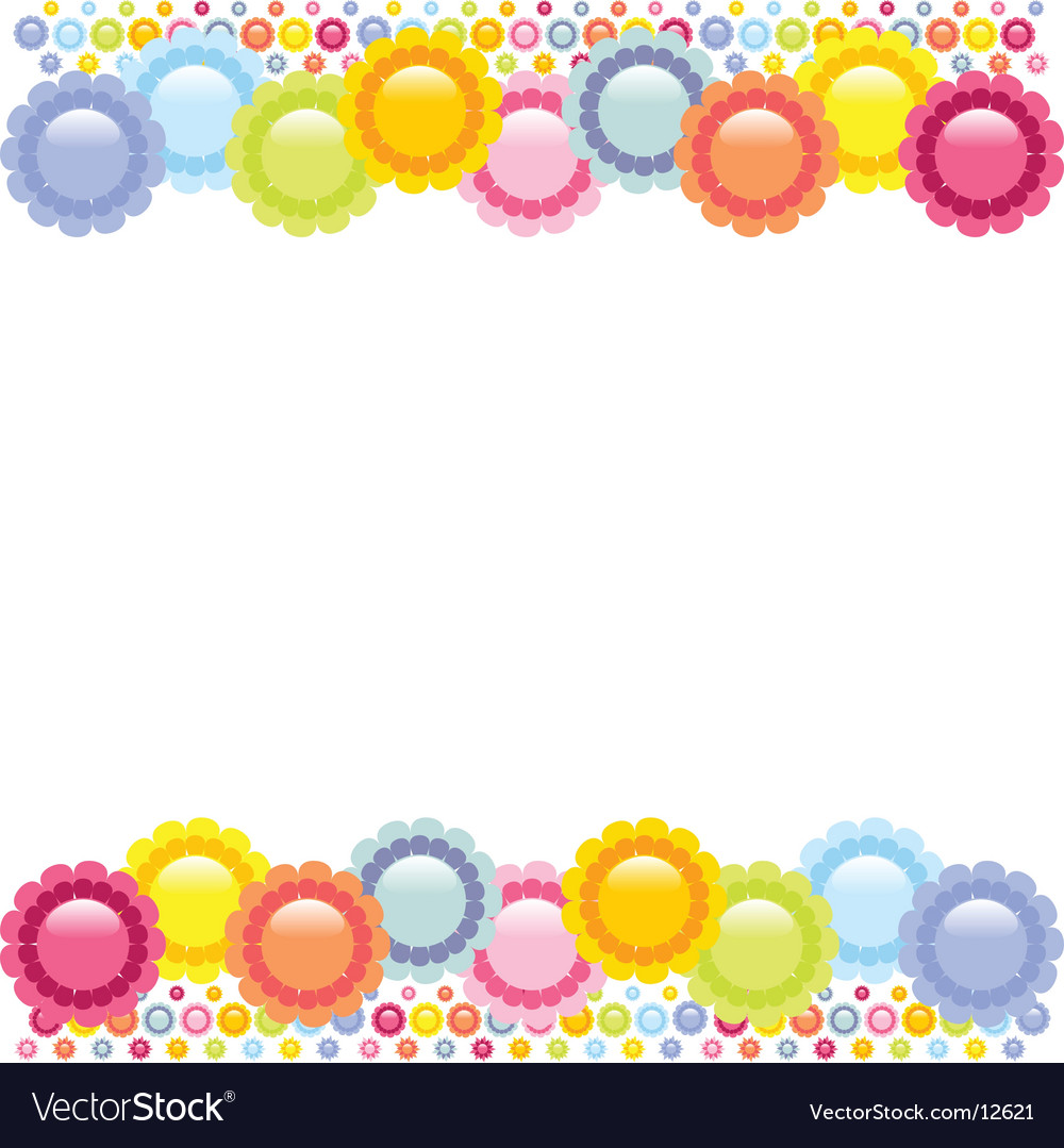 Shiny summer flower border vector | Price: 1 Credit (USD $1)