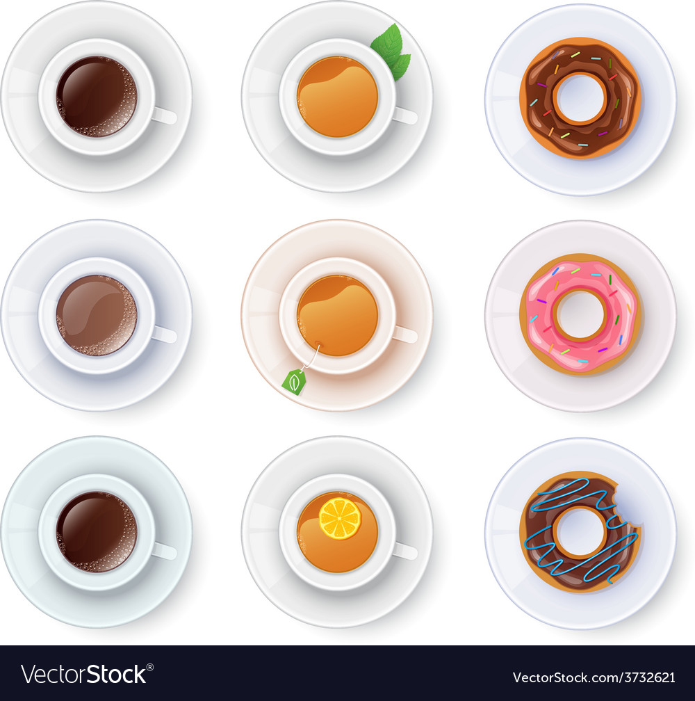 Tea and coffee with donuts vector | Price: 1 Credit (USD $1)