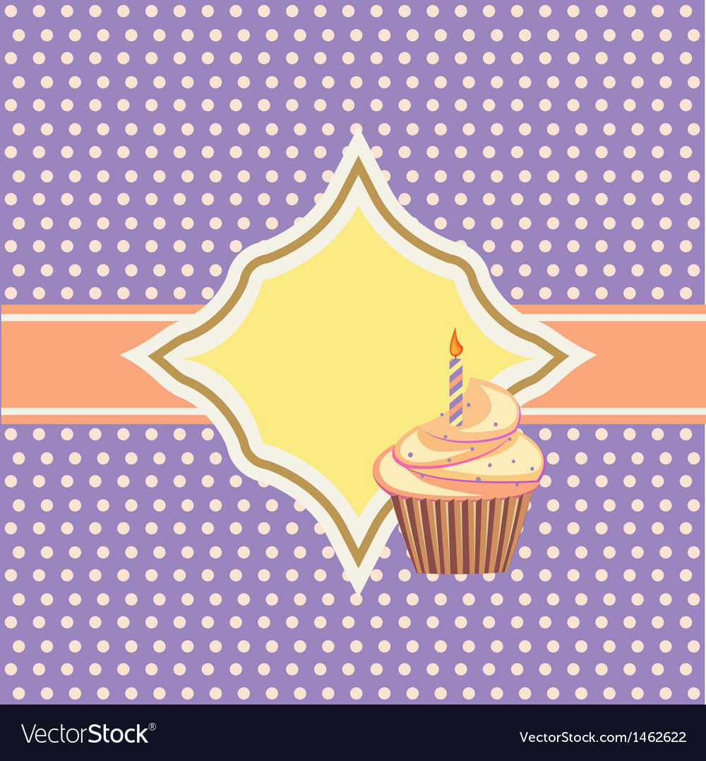 Background with cupcake and decoration vector | Price: 1 Credit (USD $1)