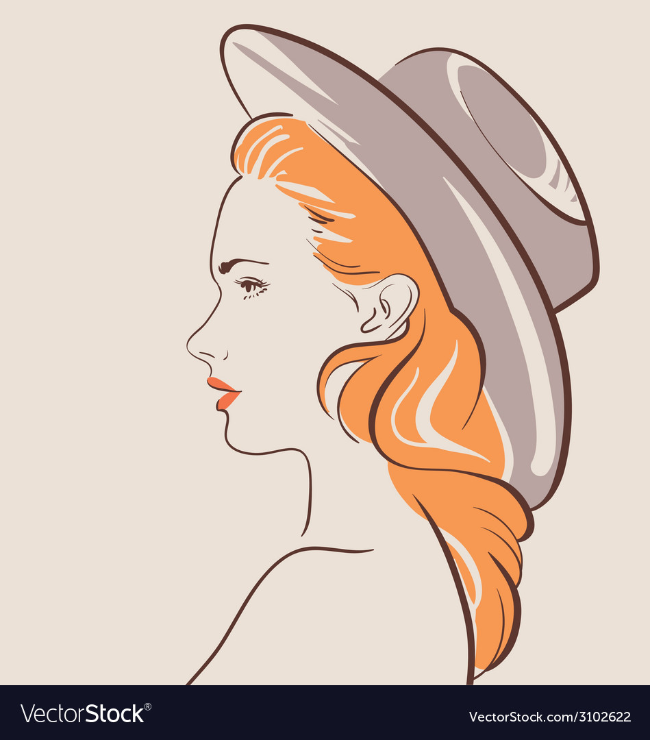Beautiful fashion woman in hat vector | Price: 1 Credit (USD $1)
