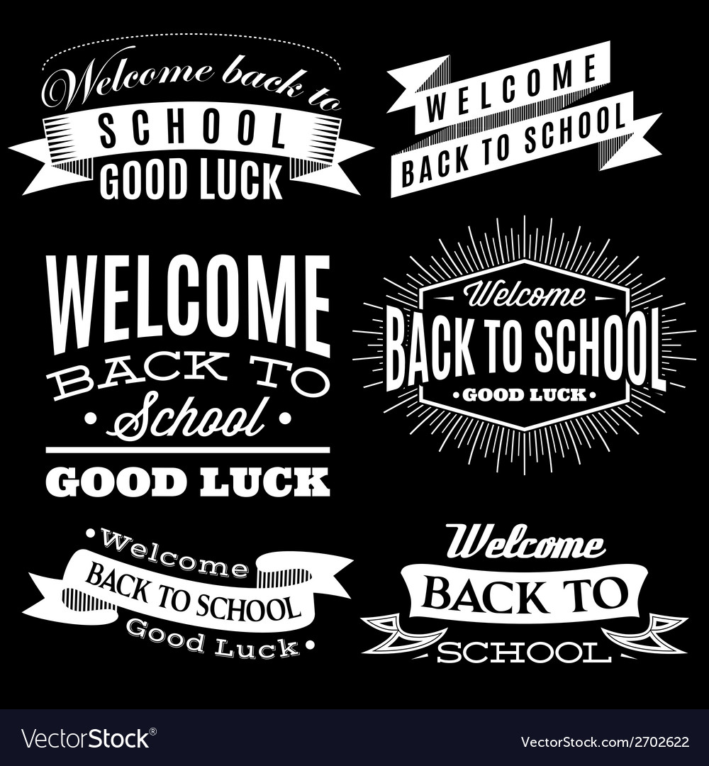 Black and white set of labels on back to school vector | Price: 1 Credit (USD $1)