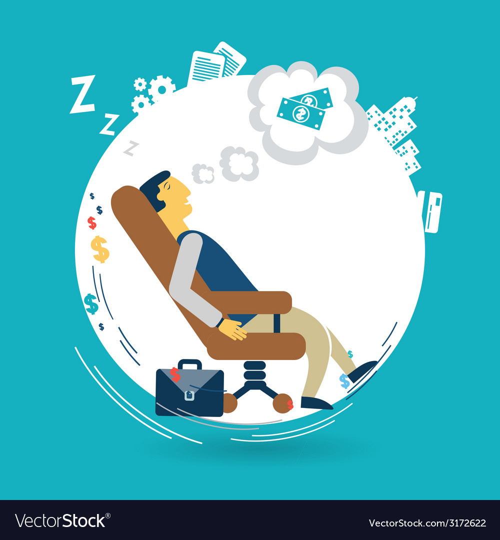 Businessman asleep at work vector | Price: 1 Credit (USD $1)