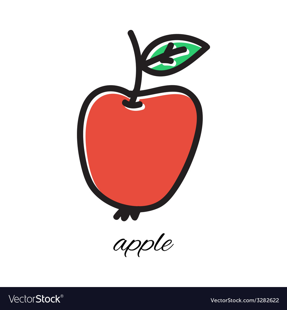 Doodle apple hand-drawn object isolated on white vector | Price: 1 Credit (USD $1)