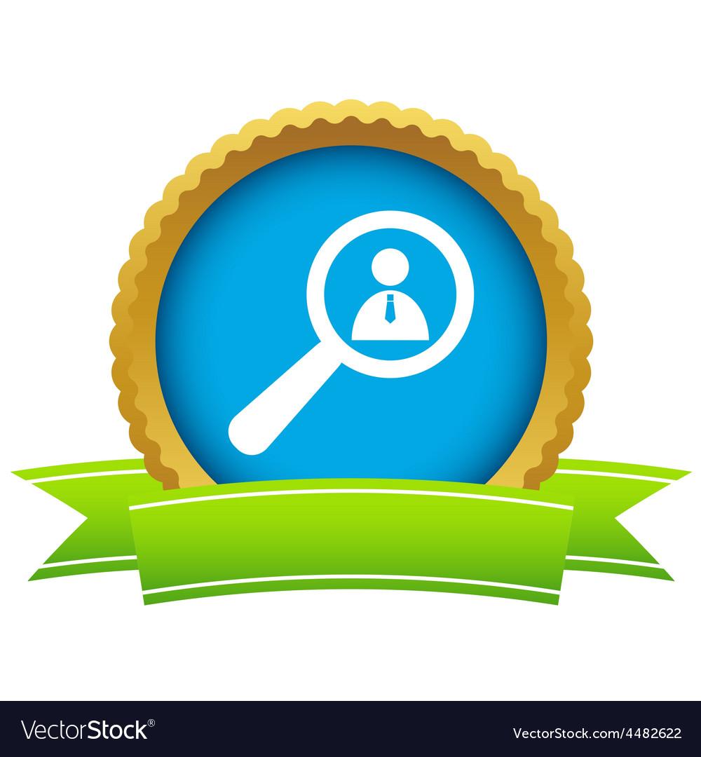 Gold search person logo vector | Price: 1 Credit (USD $1)