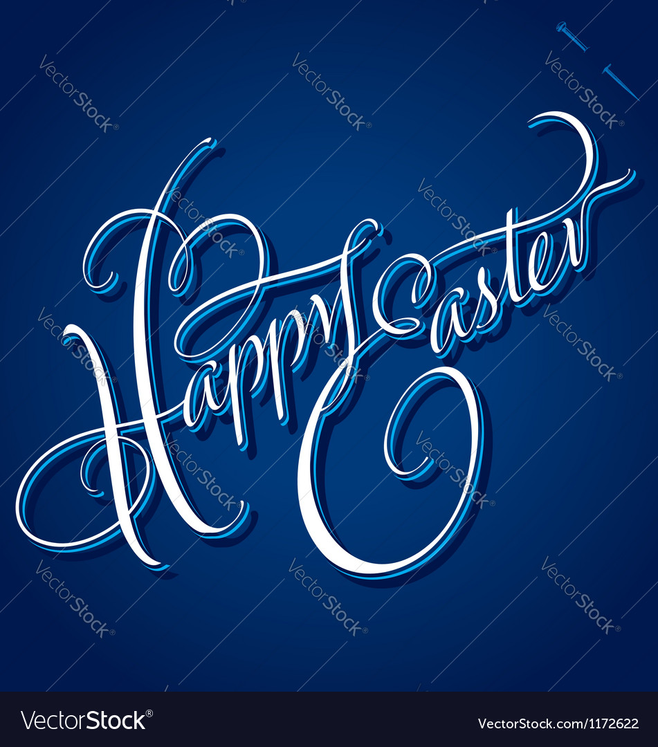 Happy easter hand lettering vector | Price: 1 Credit (USD $1)