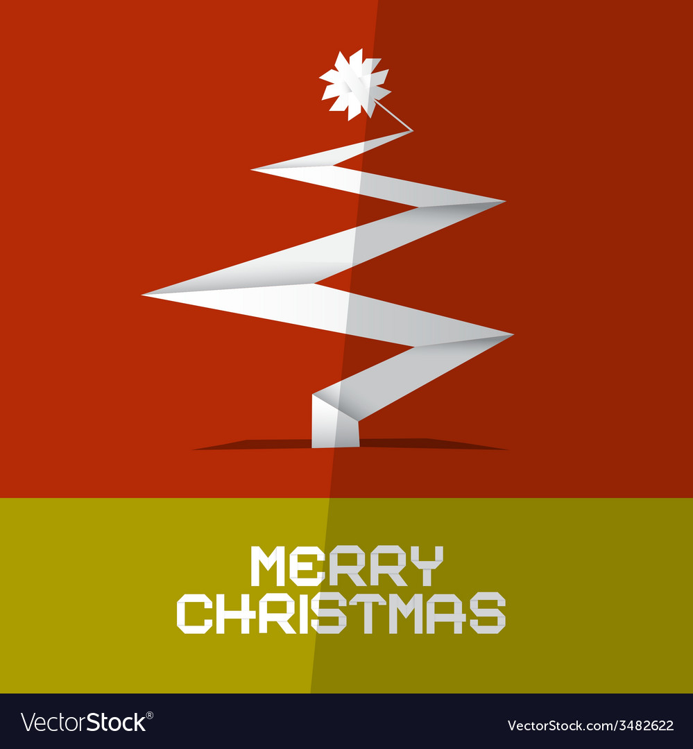 Merry christmas card with paper tree vector | Price: 1 Credit (USD $1)